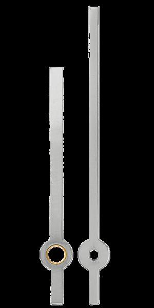 Uhrzeiger silber  für Quarz Uhrwerke Uhrzeiger Länge 80/60mm chrom