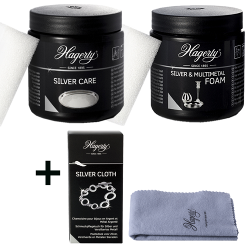 Hagerty Silver Polish Set1 Silver Foam+Silver Care+Silver Cloth