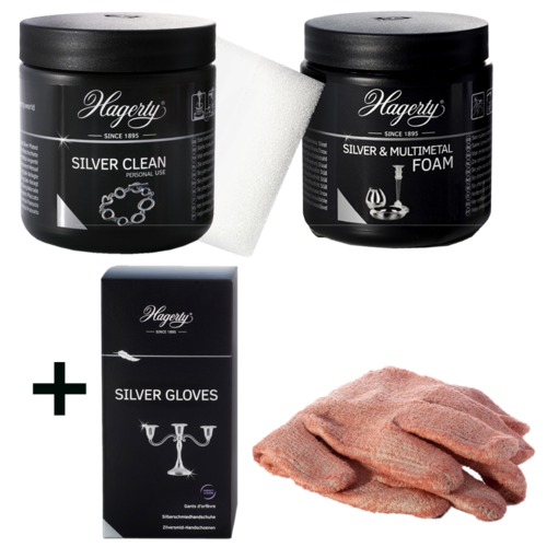 HAGERTY Silver Polish Set 3 «Silver Clean + Silver Foam + Gloves»