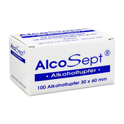AlcoSept 100 x Alcohol Swabs For Cleaning The Skin (30 x 60 mm)